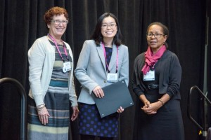 From left: Suzanne T. Ortega, CGS; Jeongmin Choi, winner, 2015 ProQuest Distinguished Dissertation Award; Marlene Coles, ProQuest